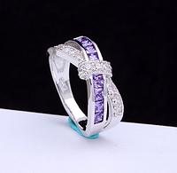 Кольцо покрытие серебро с цирконами р 17 18 19 код 1132