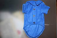 Рубашечка для собачки или котика флисовая синяя на липучке