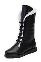 Женские чёрные зимние высокие ботинки из натуральной кожи с шнурками и молнией, фото 1