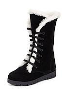 Ботинки зимние чёрные замшевые ортопедические для девочки на термополиэстеровой подошве на натуральной шерсти