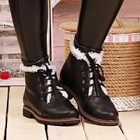 Женские зимние кожаные ботинки с шнурками, с подкладкой из натуральной шерсти на подошве ТЭП