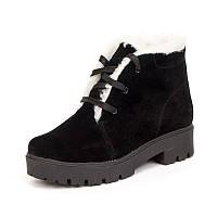 Женские зимние замшевые ботинки чёрного цвета с шнурками с подкладкой из шерсти на подошве ТЭП