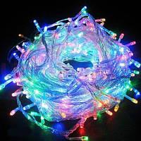 Гирлянда светодиодная яркая на 200 LED микс, (прозрачный провод)