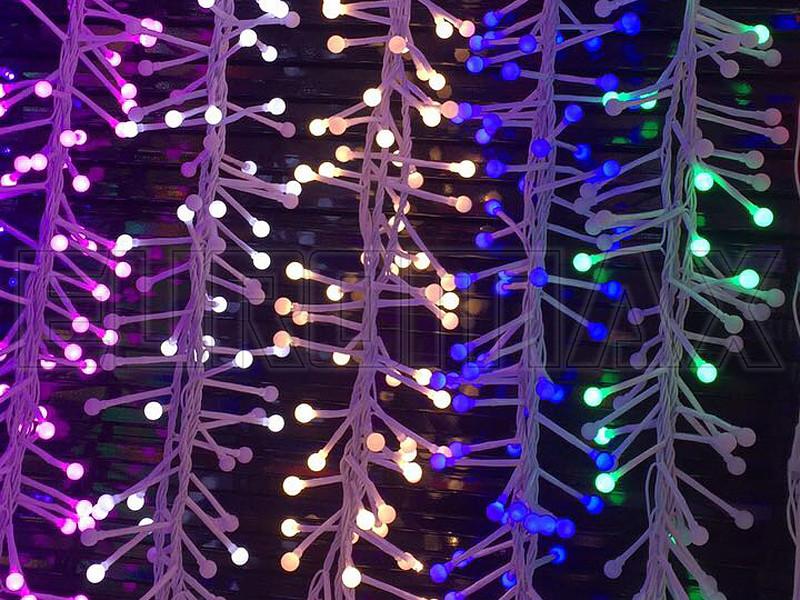 Гирлянда с белым проводом и белой матовой круглой лампой 100LED (синий) 60шт LED100B-9