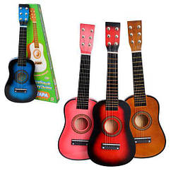 Детская деревянная гитара M 1369 с медиатром и доп. струной Royaltoys 4 цвета