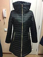 Куртка-пальто зимнее черное с мех. воротником и капюшоном ELLE