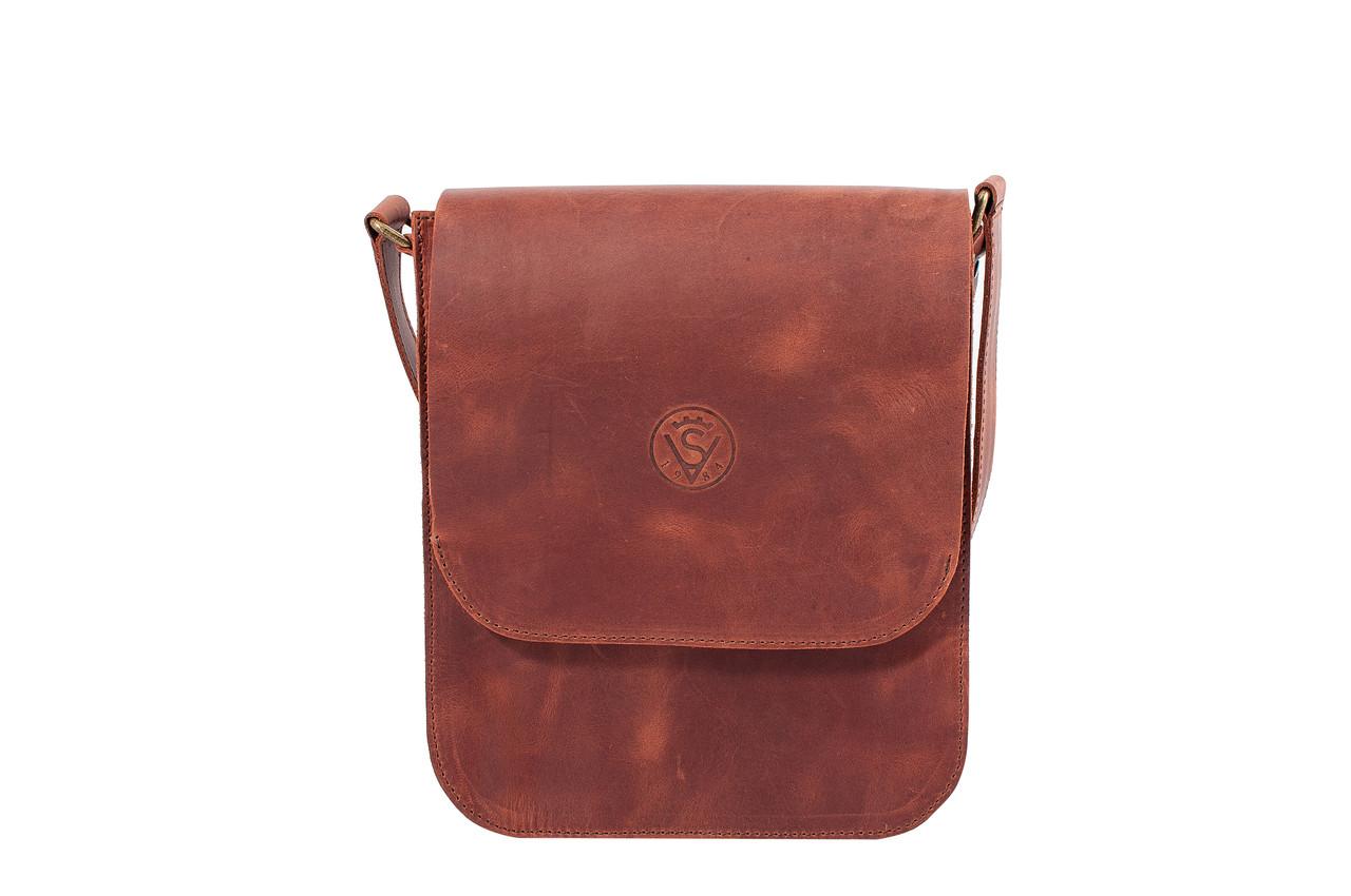Мужская сумка планшетка мессенджер через плечо из натуральной кожи рыжая