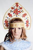 Кокошник Бежевый Налобный, карнавальный головной убор / BL - ВК11