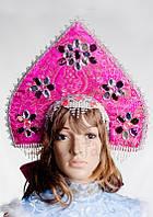 Кокошник Малиновый, карнавальный головной убор / BL - ВК6
