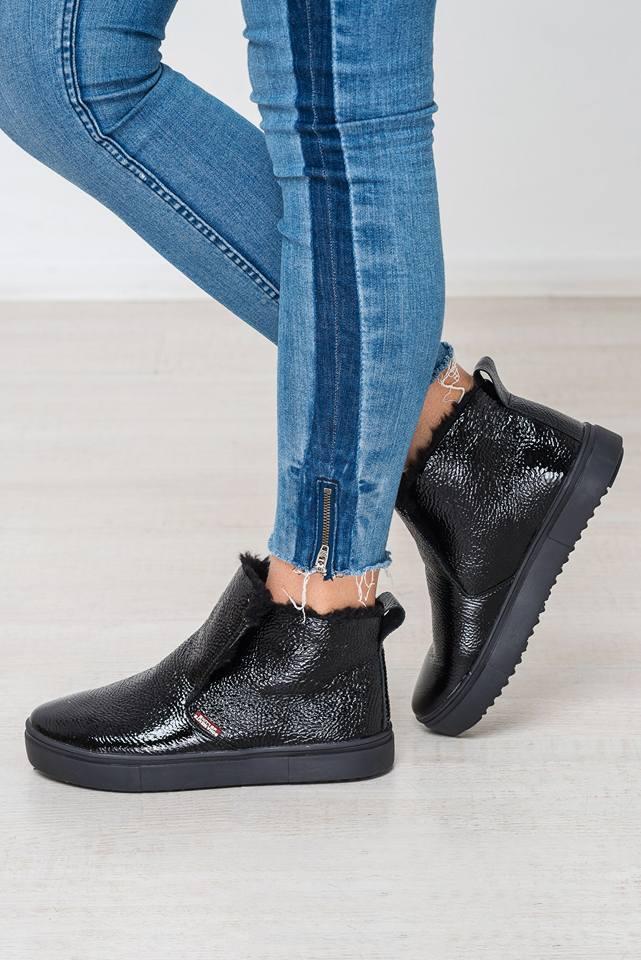 Зимние женские кожаные ботинки ТМ Bona Mente (черный)