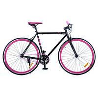 """Велосипед 28"""" G54JOLLY S700C-4 рама HI-TEN сталь, трекові колеса, подвійний обід, чорно-рожевий"""
