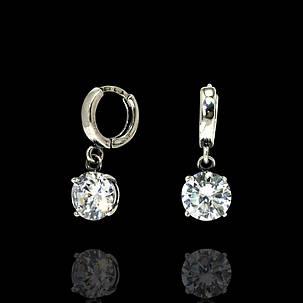 Срібні сережки-підвіски з фианитом, фото 2