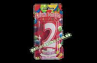 "Свеча-цифра на торт белая с красной окантовкой ""2"""
