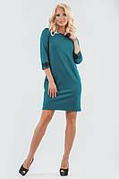 Деловое платье футляр цвет морская волна