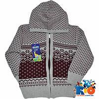 Вязаный свитер на молнии с капюшоном (зимний), для мальчика 1-3 года  (3 ед в уп)