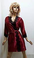 Женский короткий атласный халат с французским кружевом 470