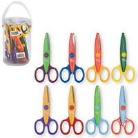 Ножници детские в банке за 1шт 13см с фигурними лезами   за 1шт  480134 (8)
