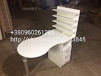 """""""Макси"""" маникюрный стол складной с 4полками для лакоы и выдвижными ящиками в белом цвете"""