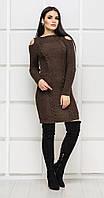 Вязаное платье с открытыми плечами коричневое (вст)Арт. 3416