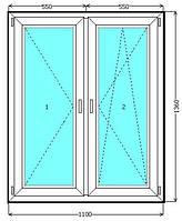 Металлопластиковое окно Евролайн со штульповым открыванием