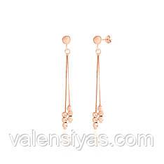 Серебряные серьги-гвоздики с подвесками в позолоте 8815А