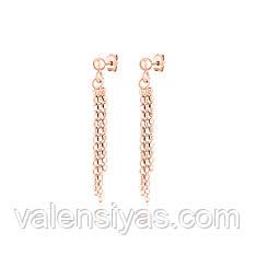 Серебряные серьги-гвоздики в позолоте с подвесками 8816А