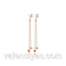 Серебряные серьги-гвоздики с позолотой и подвесами 8817А