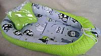 Подушка + позиционер для младенца, кокон, гнездышко, babynest Сова на салатовом