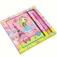 Блокнот с замком для девочек розовый (2 ключа, ручка)(19х18х2 см
