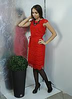 Нарядное красное кружевно платье от Lavanda