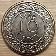 Монета Суринама. 25 центов. 1989 г.