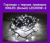 Гирлянда с черным проводом 2 и прозрачной конической лампой 300LED (белый) LED300W-2!Опт