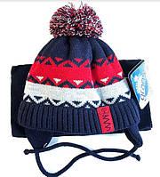 Зимний набор (шапка и шарф) Grans для мальчика, размер 42-44 см ( 3-7 мес)
