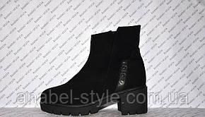Ботиночки зимние на низком толстом каблучке и молнии натуральная замша черные код 1182, фото 2