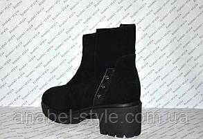 Ботиночки зимние на низком толстом каблучке и молнии натуральная замша черные код 1182, фото 3