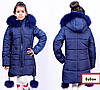 Модные зимние куртка парки для девочек с бубонами, фото 3