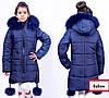Детские зимние куртки для девочек с натуральным мехом, фото 3