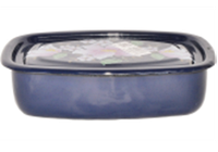 Лоток эмалированный с крышкой (1 л) Epos 2507/4 Синий клематис, арт. 2507/4_синий_клематис