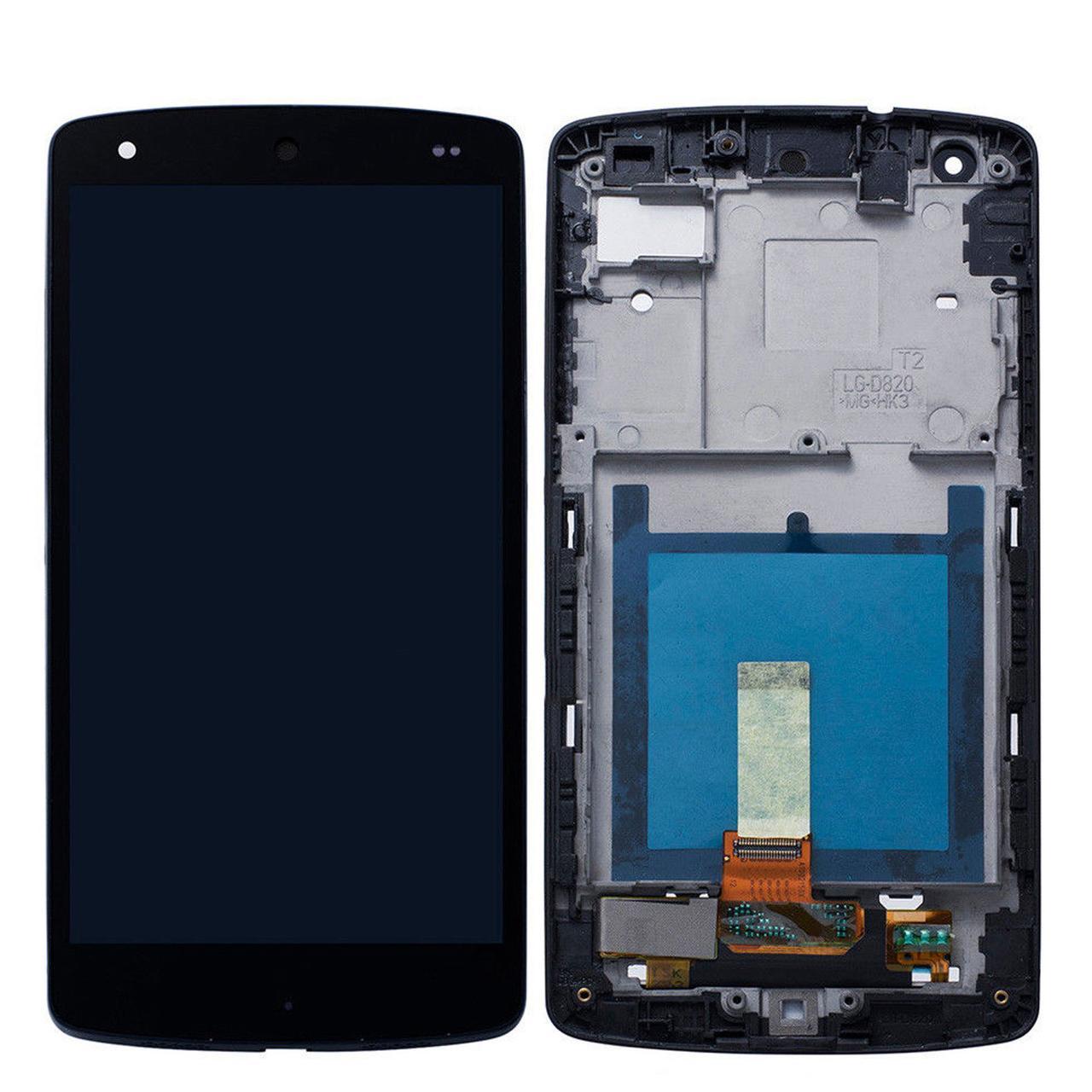 Дисплей (экран) для LG D820 Nexus 5 с сенсором (тачскрином) и рамкой черный