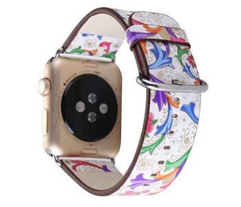 Кожаный ремешок Primo Color Flower для Apple Watch 38mm / 40mm (110mm)