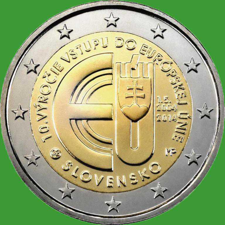 Словаччина 2 євро 2014 р. 10 років вступу в Євросоюз . UNC.