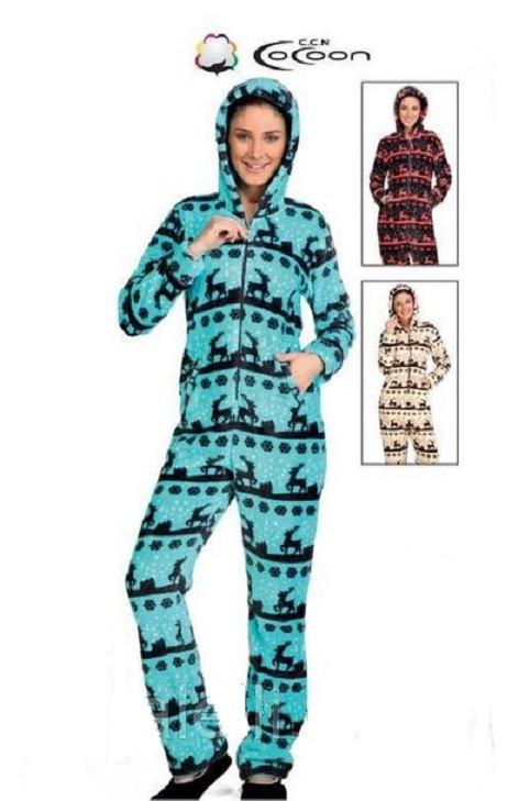 Тёплая пижама комбинезон женская с оленями и снежинками Турция ... da7f5e3c2944b