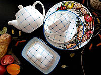 """Набор фарфоровой посуды с ручной росписью """"Итальянское застолье"""""""