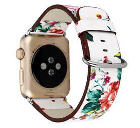 Кожаный ремешок Primo White Flower для Apple Watch 38mm / 40mm (110mm)
