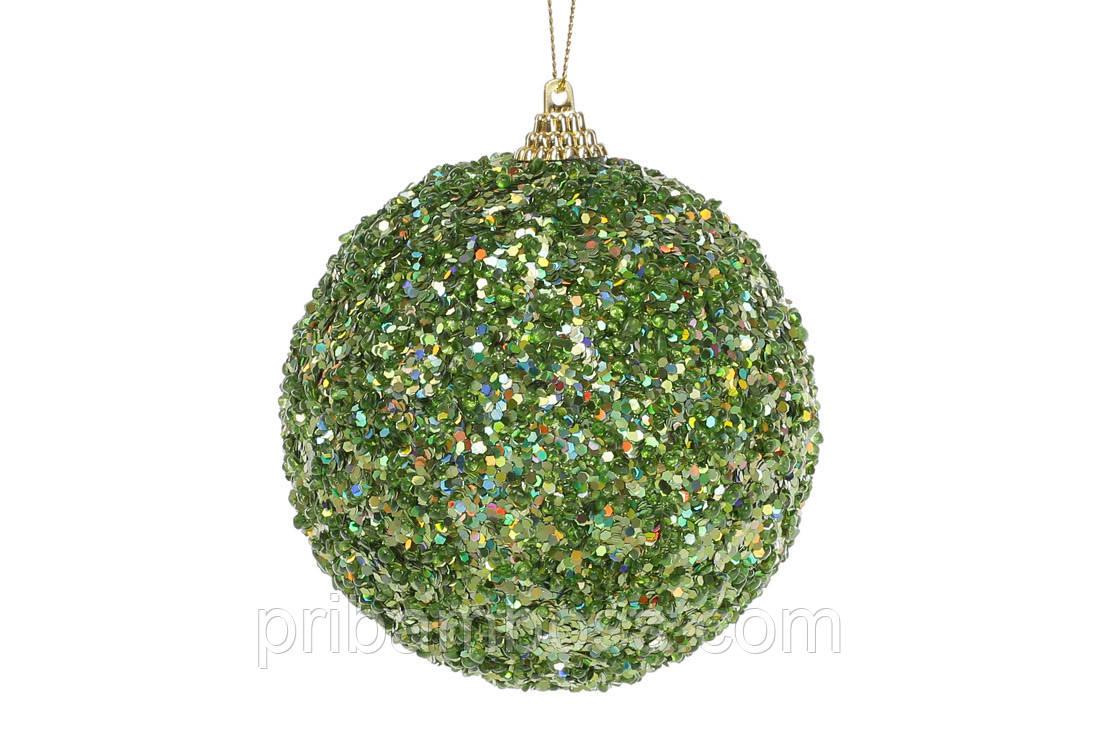 Елочный шар 10см, зеленый с покрытием лёд 12 шт.