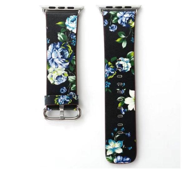 Кожаный ремешок Primo Blue Flower для Apple Watch 42mm / 44mm (120mm)