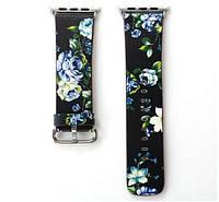 Кожаный ремешок Primo Blue Flower для Apple Watch 42mm / 120mm