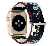 Кожаный ремешок Primo Blue Flower для Apple Watch 38mm / 40mm (110mm)