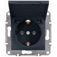 Розетка Schneider-Electric Asfora Plus с крышкой, заземлением антрацит EPH3100171