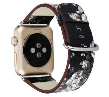 Кожаный ремешок Primo Black Flower для Apple Watch 38mm / 40mm (110mm)